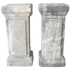 Antique Pair of Small Limestone 19th Century Columns from Meze, France