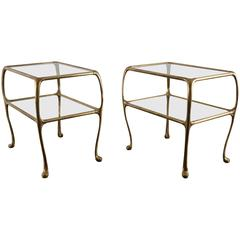 Pair of Cast Brass Side Tables