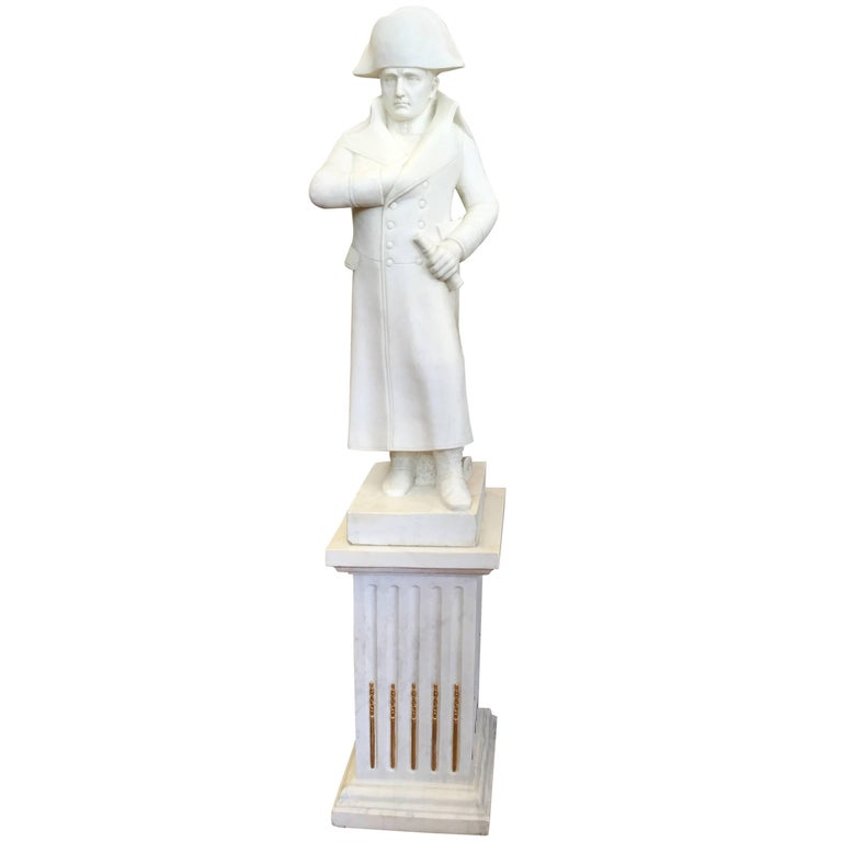 White Carved Marble Figure of the Famous Napoleon with One Hand is His Jacket For Sale