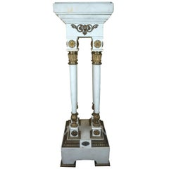 19th Century French Louis XVI Style White Marble and Bronze Four-Column Pedestal