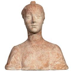Art Nouveau-Art Deco Terracotta Plaster Female Bust