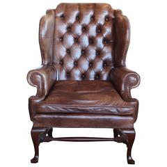 Early 20th Century English Leather Wing Chair