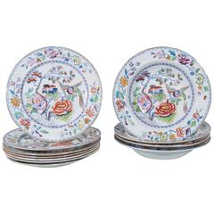 "Set of Mason's Ironstone Dinner and Soup Dishes in ""Flying Bird"" Pattern"