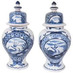 Pair of Blue and White Dutch Delft Mantle Vases
