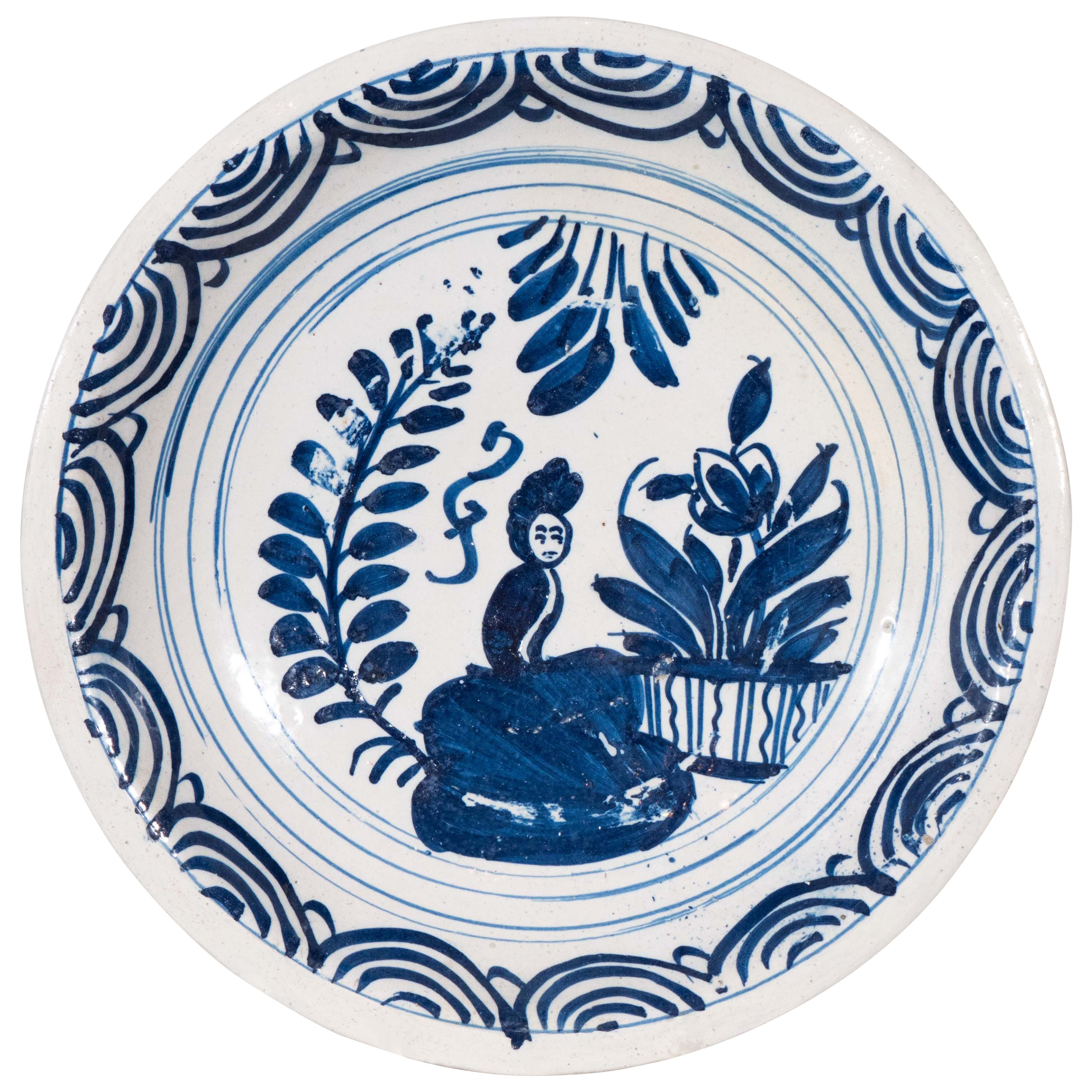 Blue and White Delft Charger Mid-18th Century