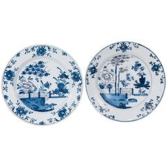 Pair of Antique Blue and White Dutch Delft Chargers