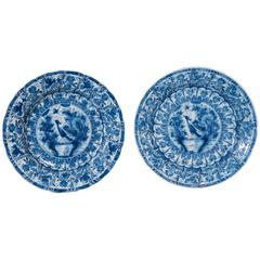 Pair Antique Blue and White Dutch Delft Chargers