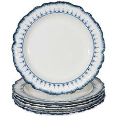 Ten Antique Blue and White Wedgwood Dishes in the Mared Pattern