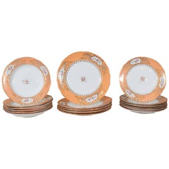 Antique English Porcelain Dishes with Wide Orange Borders