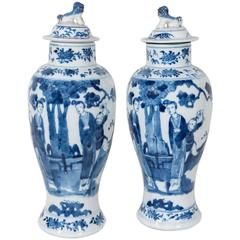 Pair of Blue and White Antique Chinese Porcelain Covered Vases
