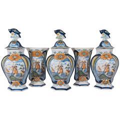 Antique Dutch Delft Mantle Garniture Set