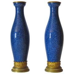 Paul Milet Blue Faience Vase Pair with Ormolu Mounts, Sevres, France