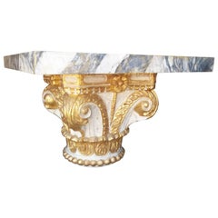Giltwood and Paint Wood Corinthian Column Capital Fragment Now a Table