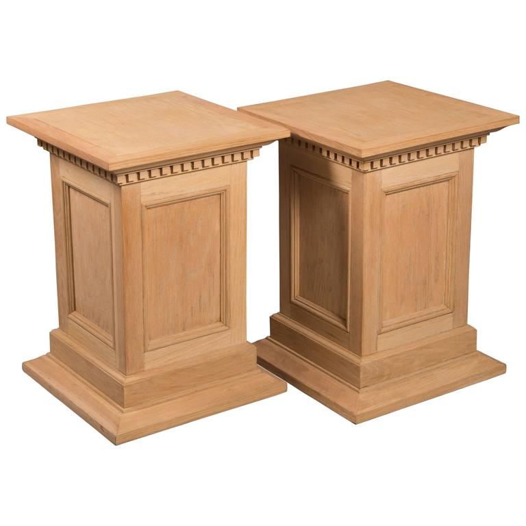 Neoclassical Style Raw Oak Pedestals 1