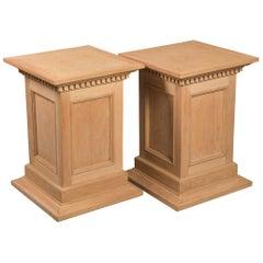 Neoclassical Style Raw Oak Pedestals