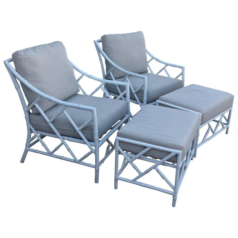 Chinese Chippendale Pair Faux Bamboo Metal Patio Lounge Armchairs Ottomans For