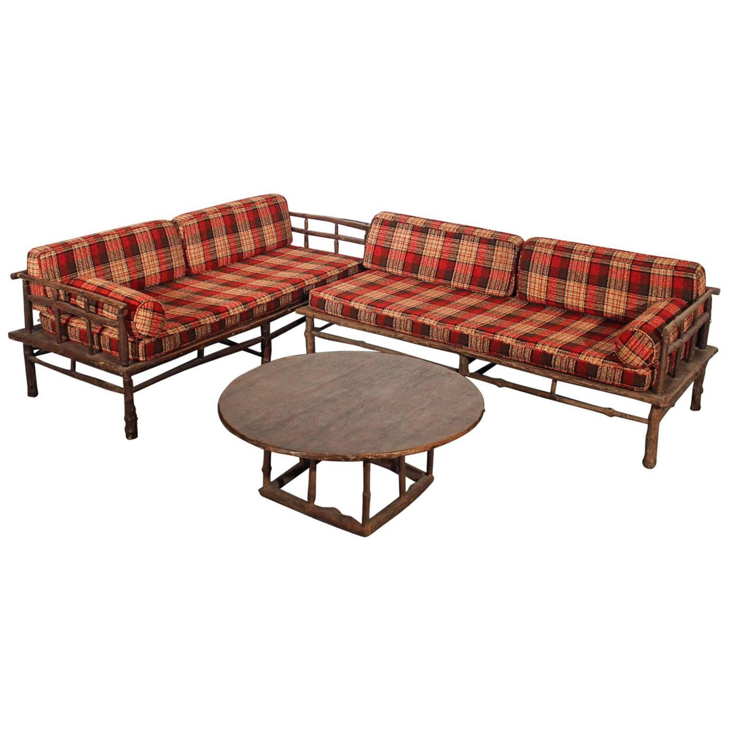 Old Hickory Style Sofa Chaise And Coffee Table Set For Sale At 1stdibs