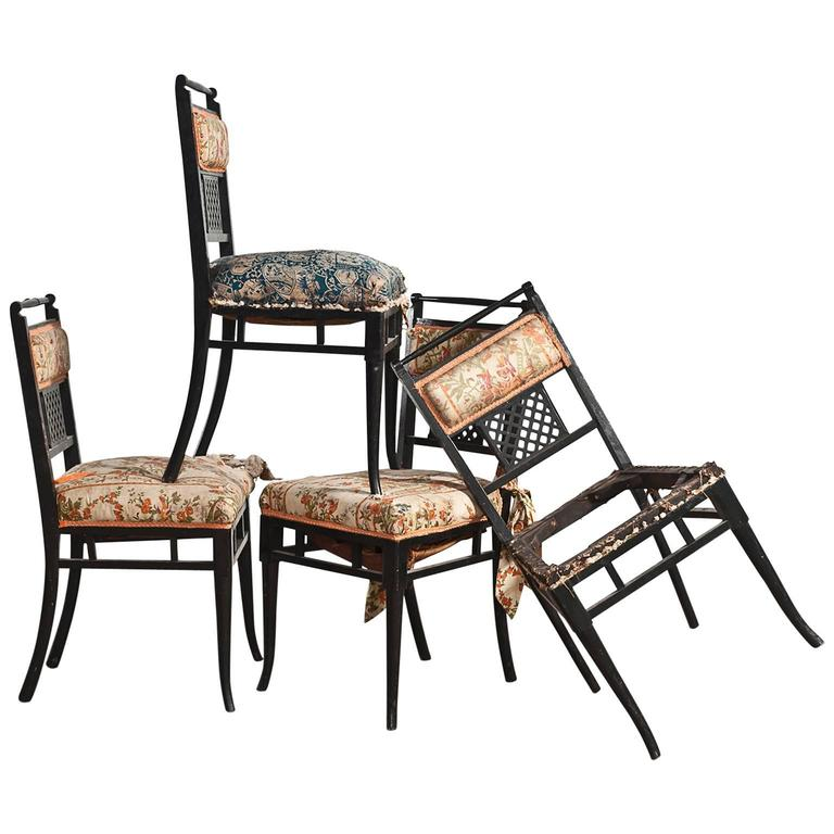 Antique Regency Chinoiserie Distressed Black Chairs, Set of Four For Sale