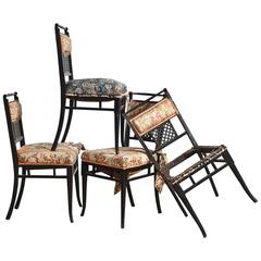 Antique Regency Chinoiserie Distressed Black Chairs, Set of Four