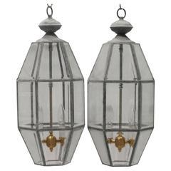 Pair of Vintage Brass Hanging Lanterns