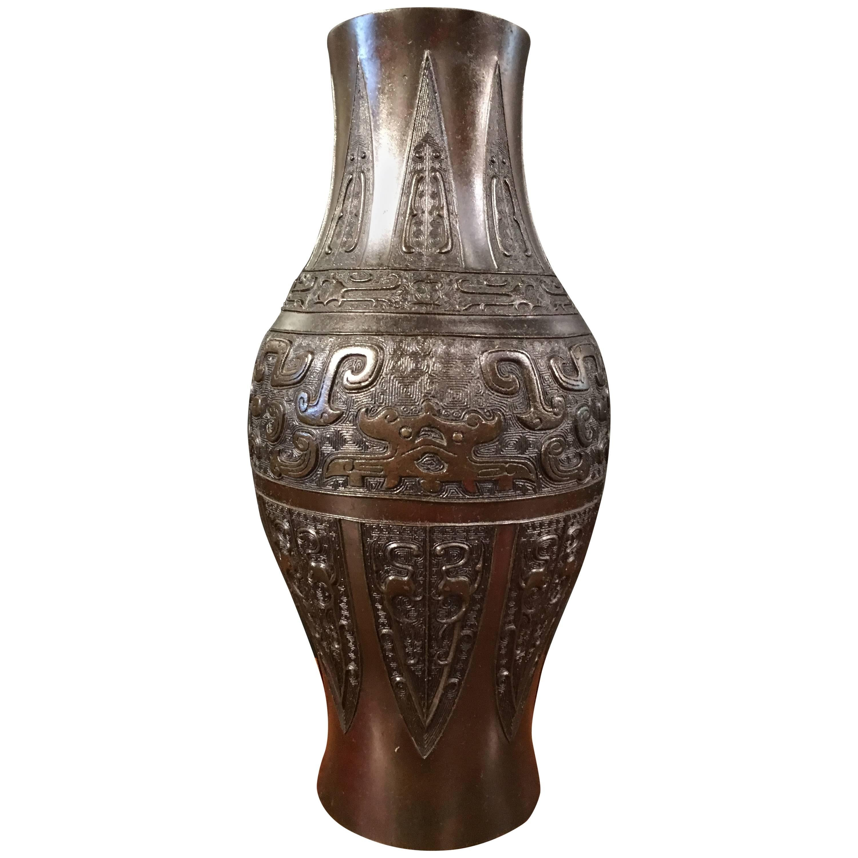 Chinese Qing Dynasty Archaistic Bronze Ovoid Baluster Vase