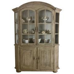 19th Century Dutch Bleached Oak Vitrine Cabinet