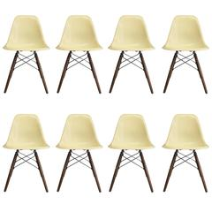 Eight Herman Miller Eames Parchment Dsw Dining Chairs