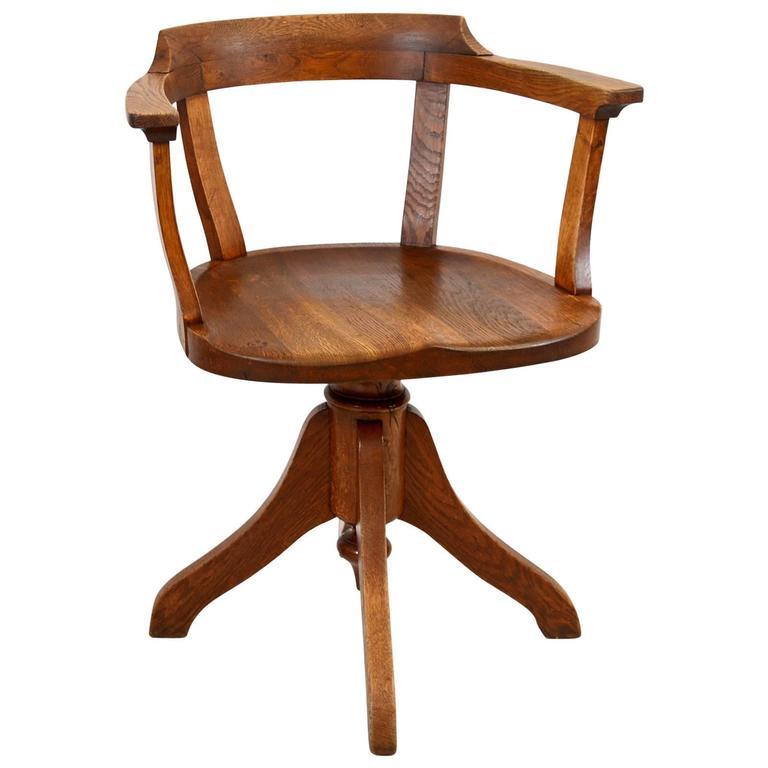 Oak Swedish Swivel Post Office Chair