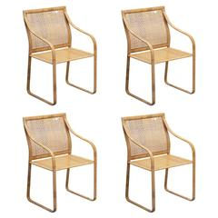 Set of Four Steel and Wicker Chairs by Kill International