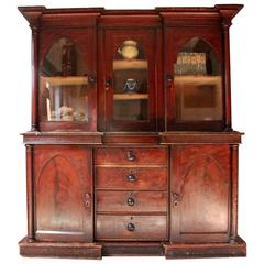 Decorative, Gothic Revival Stained Pine Breakfront Bookcase, circa 1840
