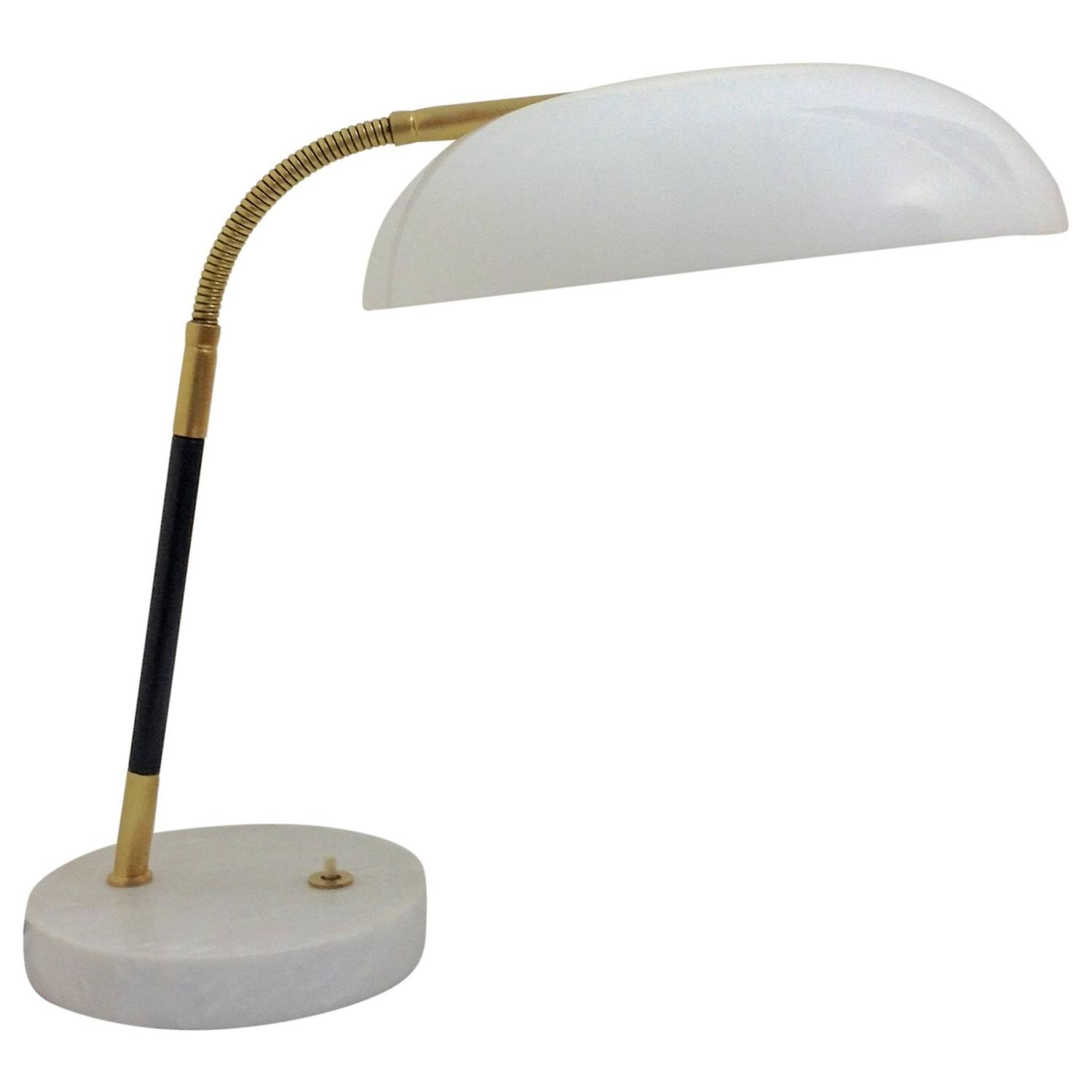 white and brass stilux desk lamp on marble base for sale at 1stdibs. Black Bedroom Furniture Sets. Home Design Ideas