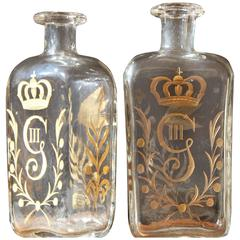 Pair of circa 1800 Swedish Glass Flasks Gilt Decorated for Gustav III