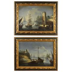 19th Century Oil on Canvas Pair of Paintings Seascape with Boats
