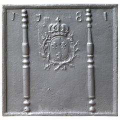 18th Century French Fireback, Pillars with Arms of France