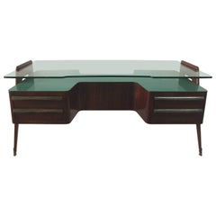 Executive Large Rosewood Desk by Paolo Buffa with Floating Glass Top