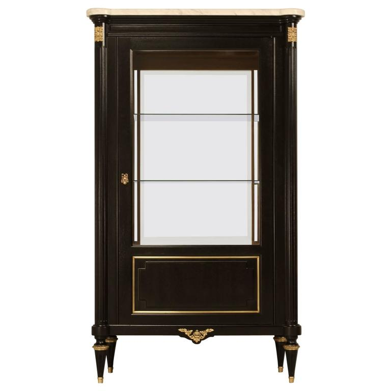 French Ebonized China or Curio Cabinet For Sale at 1stdibs