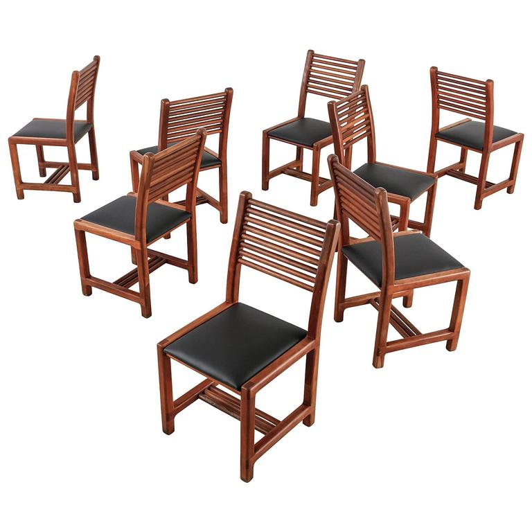 Lambrecht Studio Set of 8 out of 22 Teak and Leather Dining Chairs, USA, 1950s