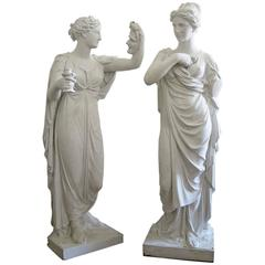 Pair of 19th Century Romantic Plaster Figures from an English Country Estate
