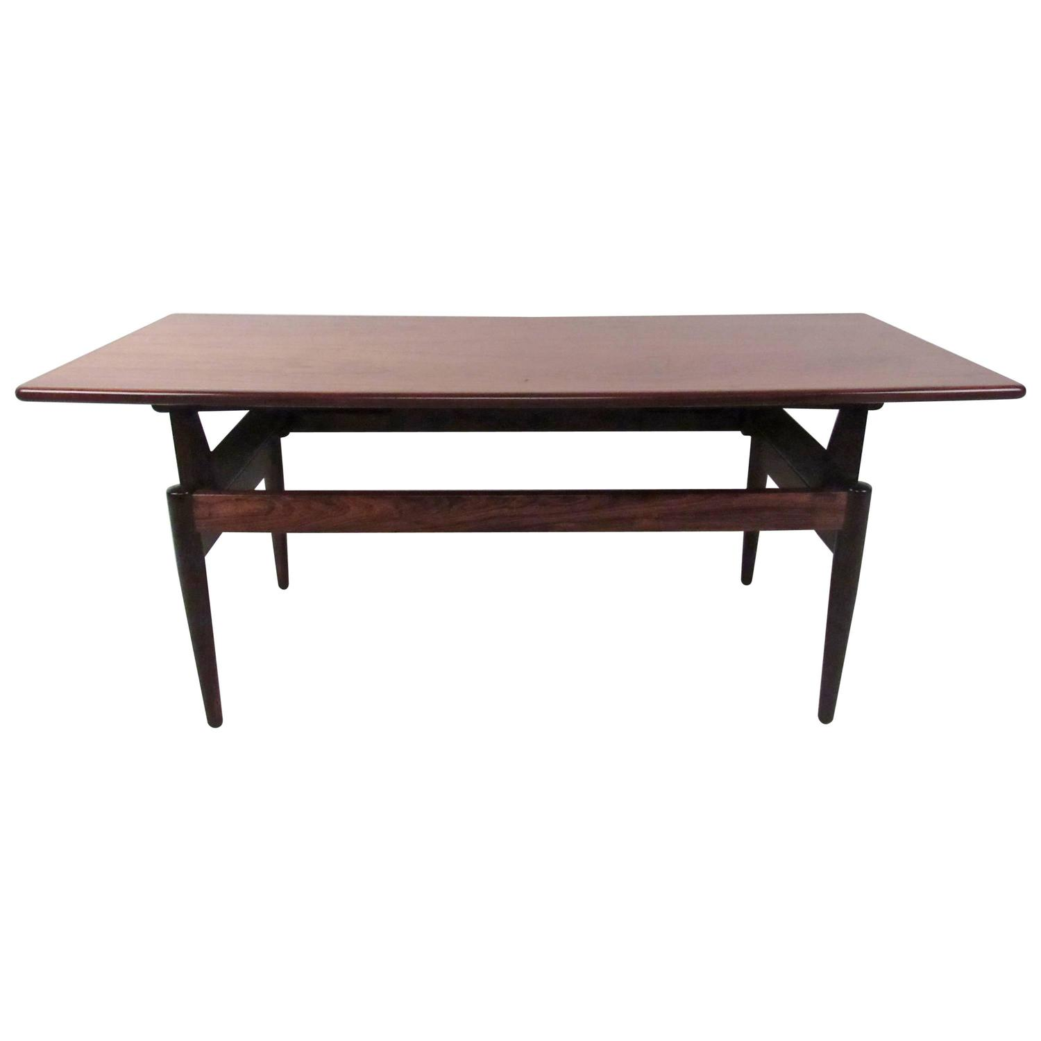 Mid century adjustable rosewood coffee table for sale at for Adjustable coffee table