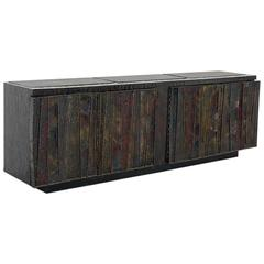 Paul Evans, Welded Steel Deep Relief Console, USA, circa 1969