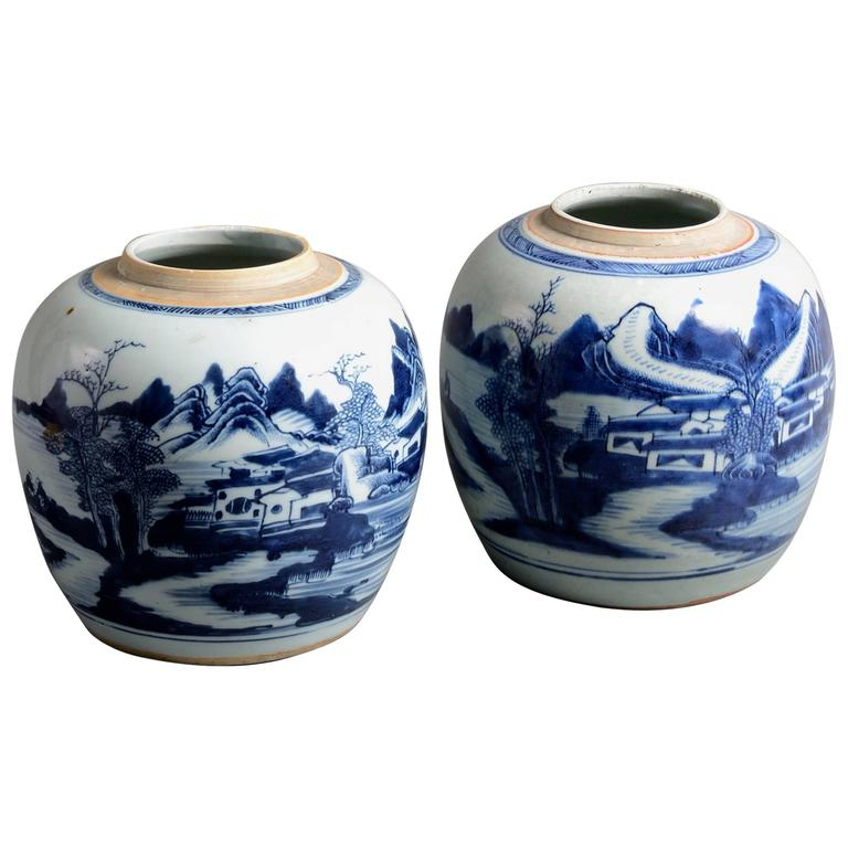 Pair Of Late 18th Century Blue And White Porcelain Jars For