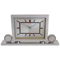 Italian Art Deco Chrome Mechanical Alarm Clock with Red & Black Geometric Detail