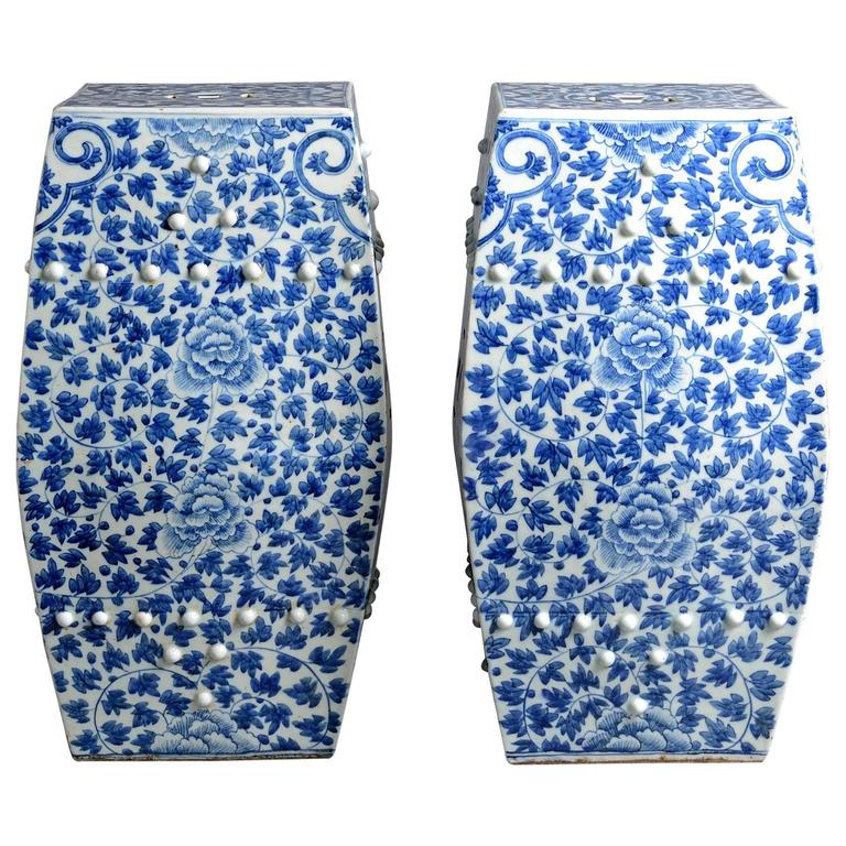 Pair Of 19th Century Blue And White Porcelain Garden Seats