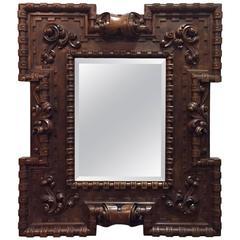 Stunning Late 18th Century German Fret Carved Walnut Hall Mirror