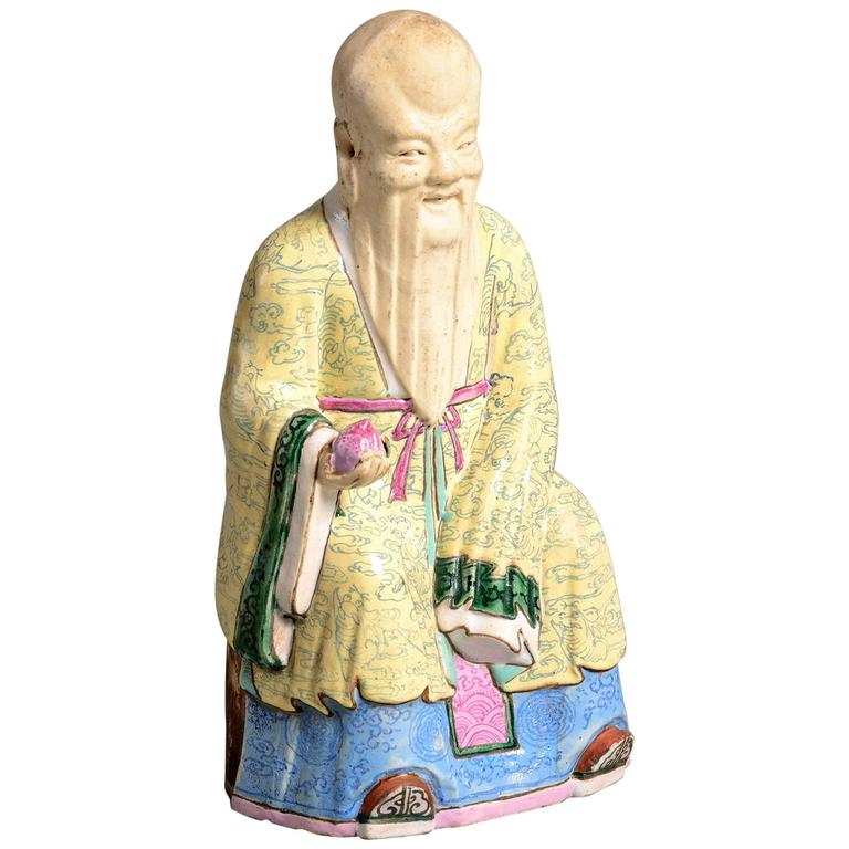 19th Century Qing Dynasty Porcelain Figure of a Chinese Immortal
