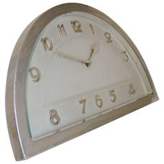 Elegant French Art Deco Chrome-Plated, 8-Day Mechanical, Demilune Table Clock