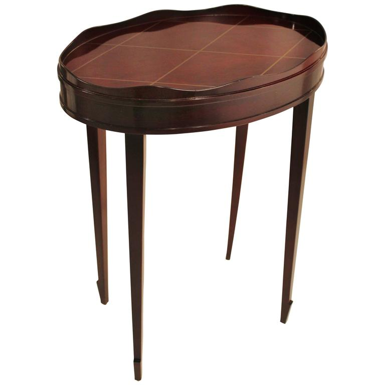 Diminutive Barbara Barry Oval Gallery Edge Side Table For
