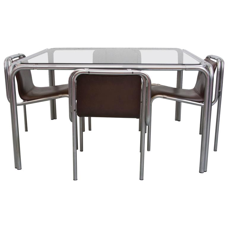 Claire Bataille Modern Chrome Dining Set For Sale