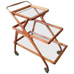 Three-Tier Teak Bar Cart by Cesare Lacca for Cassina