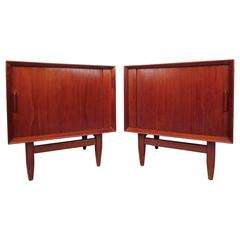 Pair Mid-Century Danish Teak Tambour Door Nightstands by Falster